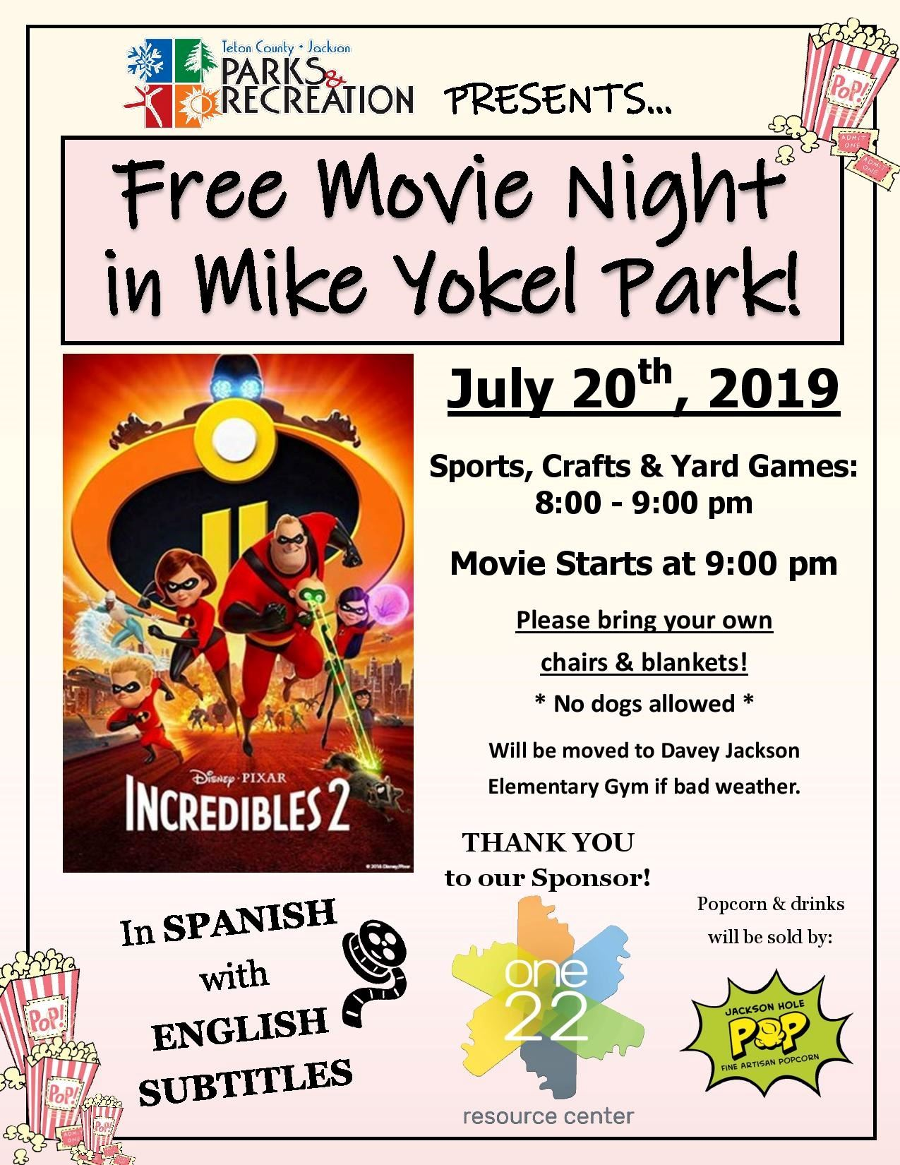 Mike Yokel Movie Night Flyer