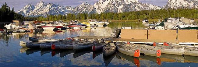 Canoes in Front of the Tetons